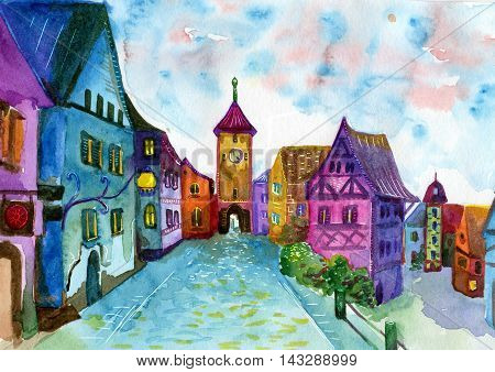 Rainbow town street. Watercolor illustration for book, notebooks, cover. Fantasy dream style painting