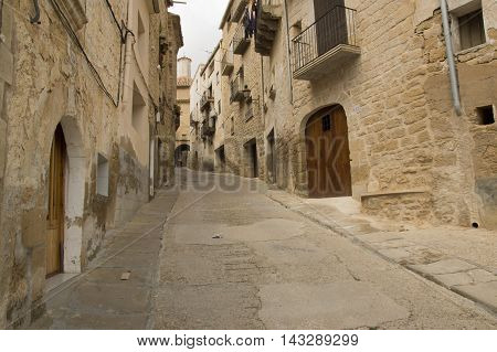 Calaceite streets in Teruel in Aragon, Spain.