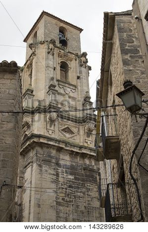 Belltower of Calaceite in Teruel, Aragon, Spain.