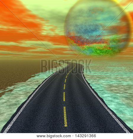 Landscape with road and alien celestial body approaching the Earth. Landscape with highway flooding with water and abstract planet