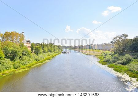 Vologda River in historical part of Vologda City at sunny summer day Russia.