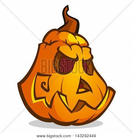 Cartoon vector illustration of a Jack-O-Lantern pumpkin curved in a scary expression isolated on white. Neatly organized and easy to edit EPS-10. Halloween decoration
