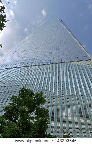 NEW YORK - AUGUST 6: Freedom Tower in Lower Manhattan on August 6, 2014. One World Trade Center is the tallest building in the Western Hemisphere and the third-tallest building in the world