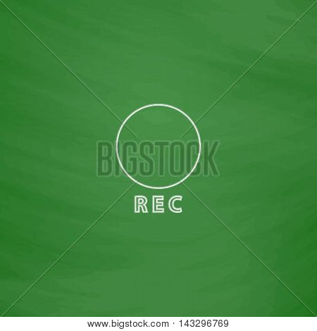 Rec Outline vector icon. Imitation draw with white chalk on green chalkboard. Flat Pictogram and School board background. Illustration symbol