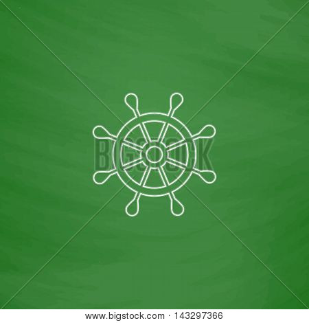 rudder Outline vector icon. Imitation draw with white chalk on green chalkboard. Flat Pictogram and School board background. Illustration symbol