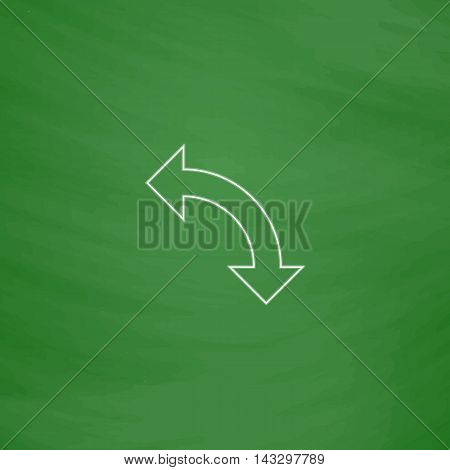 U-Turn Outline vector icon. Imitation draw with white chalk on green chalkboard. Flat Pictogram and School board background. Illustration symbol
