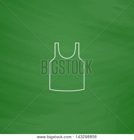 singlet Outline vector icon. Imitation draw with white chalk on green chalkboard. Flat Pictogram and School board background. Illustration symbol
