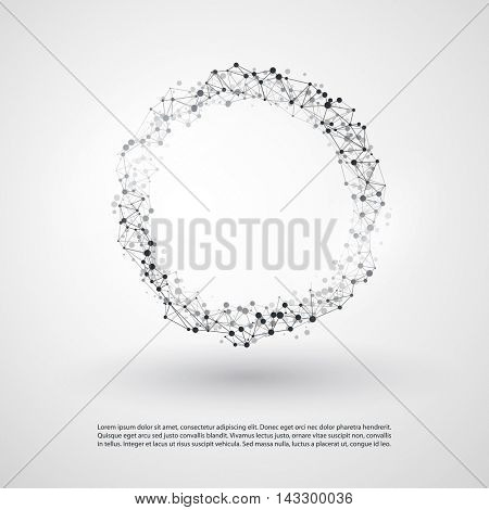 Abstract Cloud Computing and Global Network Connections Concept Design with Transparent Geometric Mesh, Wireframe Ring - Illustration in Editable Vector Format