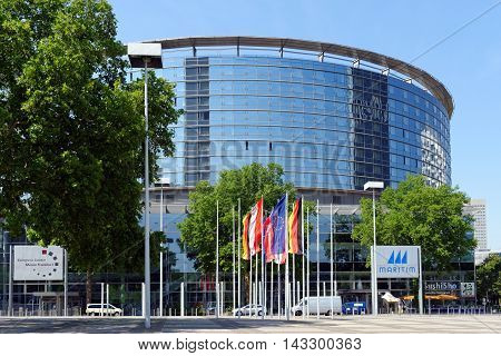 FRANKFURT AM MAIN GERMANY - AUGUST 7 2015: Congress Center part of Messe Frankfurt (Trade Fair) venue. Its tasks involve marketing the exhibition grounds for conferences and conventions.