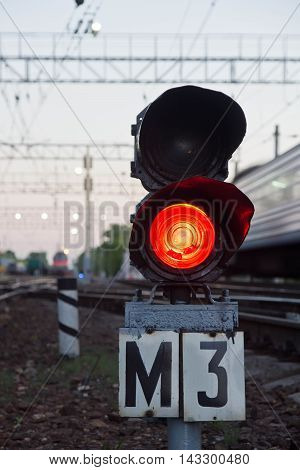 Red Semaphore Signal On Railway In Summer Evening