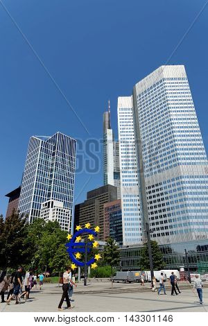 FRANKFURT AM MAIN GERMANY - AUGUST 7 2015: Financial district skyscrapers on Willi-Brandt-Platz square - Taunus tower Commerzbank Eurotower.