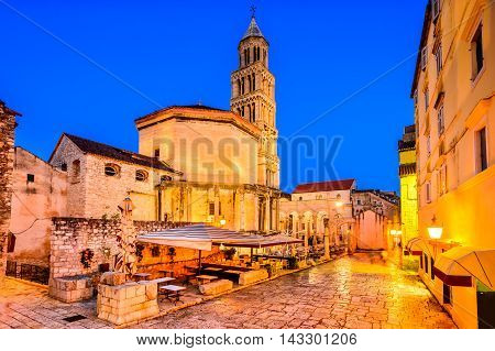 Split Croatia. Diocletian Palace peristyle in front of Cathedral of Saint Domnius bell tower.