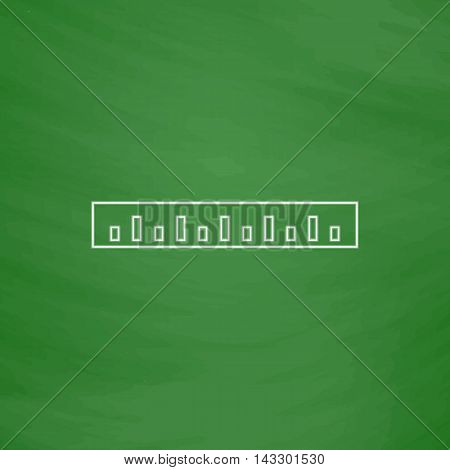 Straightedge Outline vector icon. Imitation draw with white chalk on green chalkboard. Flat Pictogram and School board background. Illustration symbol