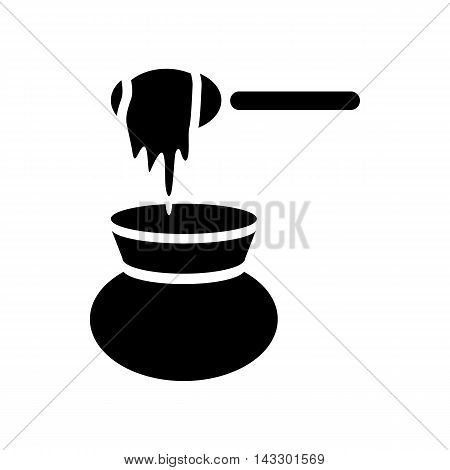 Honey dipper and jug icon in simple style on a white background