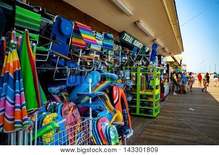 Rehoboth Beach DE - June 25 2016: Beach merchandise for sale at a shop on the boardwalk.
