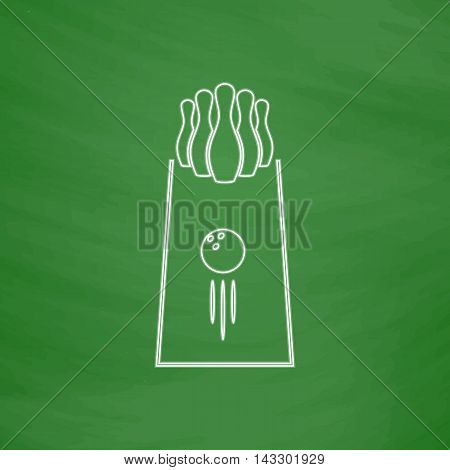 bowling Outline vector icon. Imitation draw with white chalk on green chalkboard. Flat Pictogram and School board background. Illustration symbol