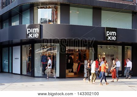 FRANKFURT AM MAIN GERMANY - AUGUST 7 2015: Pimkie store on Zeil a French fashion retailer founded in 1971. Pimkie is a brand of young women's fashion with 756 stores in 26 countries.