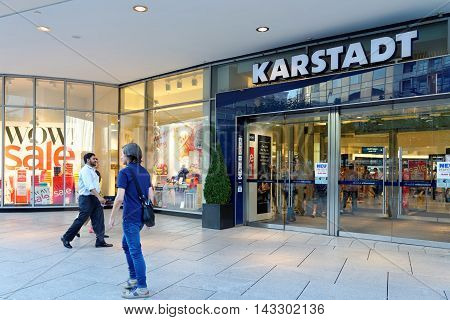 FRANKFURT AM MAIN GERMANY - AUGUST 7 2015: Karstadt department store on Zeil one of the most famous and busiest shopping streets in Germany.