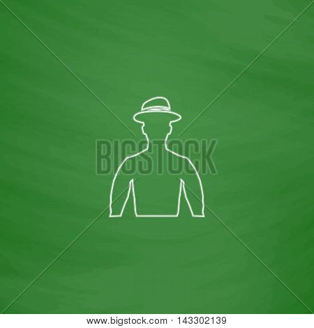 Cowboy Outline vector icon. Imitation draw with white chalk on green chalkboard. Flat Pictogram and School board background. Illustration symbol