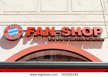 MUNICH GERMANY - august 2 2015: Display of fan shop FC Bayern football club in Munich Germany. Bayern Munich football club is the best in Germany championship.