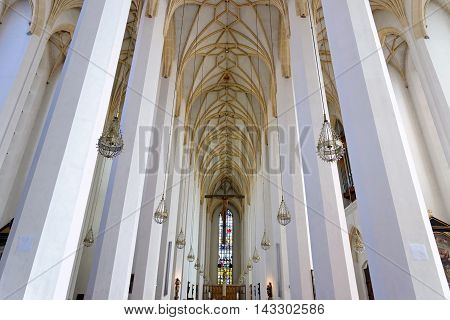 MUNICH GERMANY - AUGUST 3 2015: Interior of Frauenkirche Munich Germany.