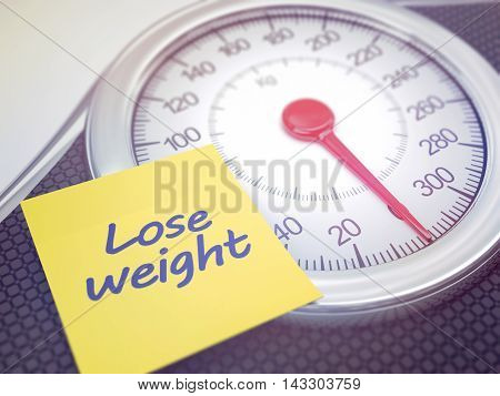 3D illustration. Weight scale with reminder to lose weight. Depth of field with focus on the reminder.