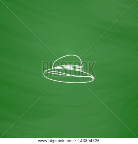 cowboy hat Outline vector icon. Imitation draw with white chalk on green chalkboard. Flat Pictogram and School board background. Illustration symbol