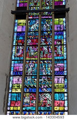 MUNICH GERMANY - AUGUST 3 2015: Interior of Frauenkirche Munich Germany. Stained glass window.