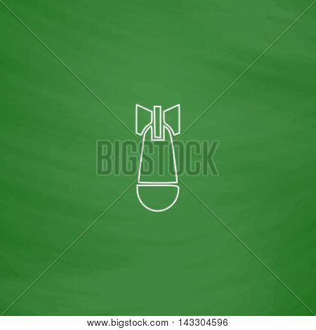 Air bomb Outline vector icon. Imitation draw with white chalk on green chalkboard. Flat Pictogram and School board background. Illustration symbol