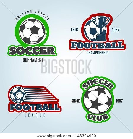 Soccer colored logos of club and competitions with football trophy on pale blue background isolated vector illustration