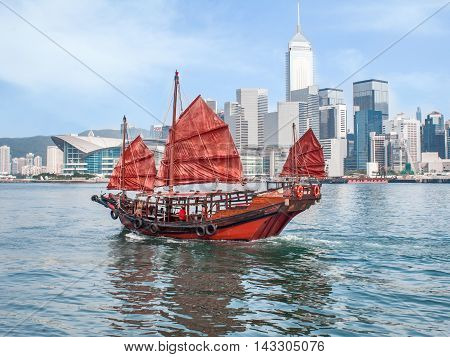 Hong Kong harbour with traditional red-sail Junk boat on city skyscrapers urban background