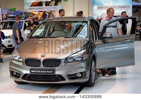 MUNICH GERMANY - 4 AUGUST 2015: BMW 225i at the BMW Welt a customer experience and exhibition facility of the BMW AG Munich Germany