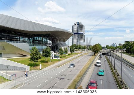 MUNICH GERMANY - 4 AUGUST 2015: BMW Welt is a multi-functional customer experience and exhibition facility of the BMW AG in direct proximity to the BMW Headquarters and the Olympiapark in Munich.
