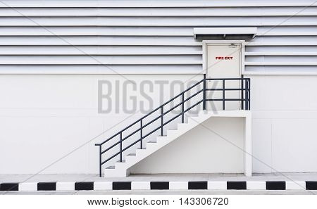 Building Emergency Exit sign for stairway, outdoor