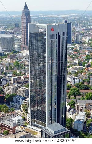 FRANKFURT AM MAIN GERMANY - AUGUST 6 2015: Aerial view of the Trianon skyscraper from the observatory deck of the Mian tower skyscraper. Frankfurt is the largest financial centre in continental Europe.