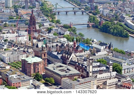 Aerial view over the river Main from the Main Tower in Frankfurt am Main in Germany.