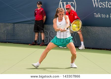 Mason Ohio - August 16 2016: Anikka Beck in a match at the Western and Southern Open in Mason Ohio on August 16 2016.