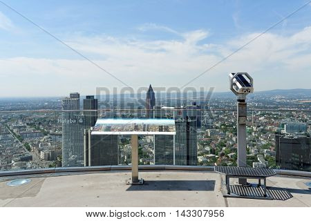 FRANKFURT AM MAIN GERMANY - AUGUST 6 2015: Aerial view of the central business district from the observatory deck of the Main tower. Frankfurt is the largest financial center in continental Europe.