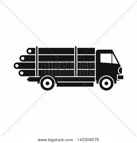Log truck with the pile of logs icon in simple style on a white background