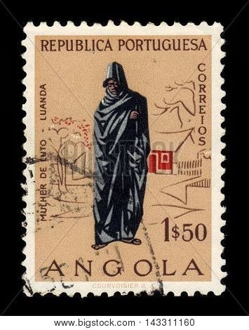 ANGOLA - CIRCA 1957: A stamp printed in Angola shows grieving woman, Luanda, series angolan people, circa 1957