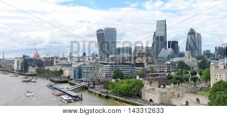 Panorama of London, England with the modern and historical architecture and the River Thames.