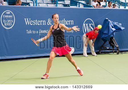 Mason Ohio - August 13 2016: Viktorija Golubic in a qualifying match versus Lauren Davis at the Western and Southern Open in Mason Ohio on August 13 2016.