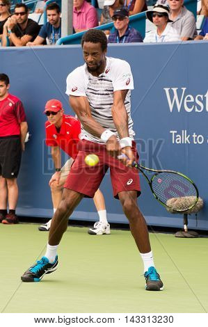Mason Ohio - August 16 2016: Gael Monfils in a match at the Western and Southern Open in Mason Ohio on August 16 2016.