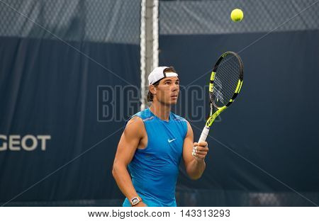 Mason Ohio - August 16 2016: Rafael Nadal practices at the Western and Southern Open in Mason Ohio on August 16 2016.