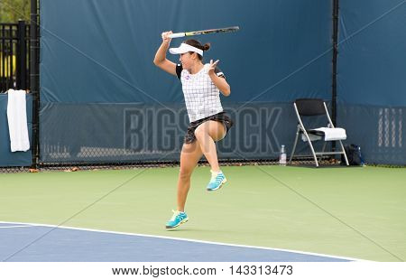 Mason, Ohio - August 13, 2016: Kurumi Nara in a qualifying match at the Western and Southern Open in Mason, Ohio, on August 13, 2016.