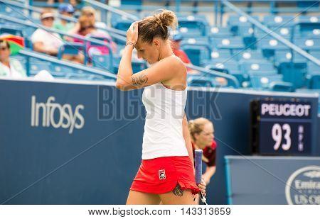 Mason Ohio - August 16 2016: Karolina Pliskova in a match at the Western and Southern Open in Mason Ohio on August 16 2016.