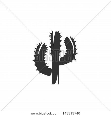 Cactus logo silhouette design template isolated on a white background. Simple concept icon for web, mobile and infographics. Abstract symbol, sign, pictogram, illustration - stock vector