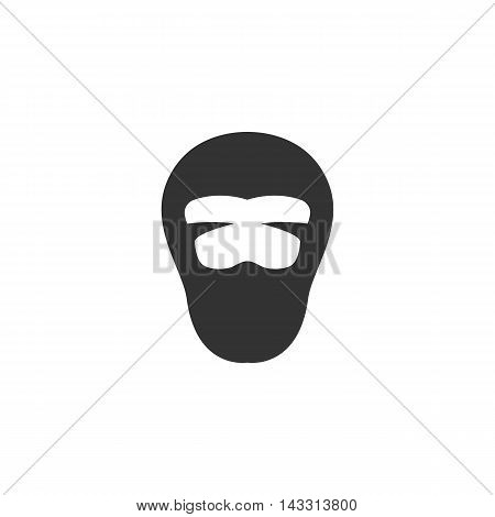 Ninja logo silhouette design template isolated on a white background. Simple concept icon for web, mobile and infographics. Abstract symbol, sign, pictogram, illustration - stock vector