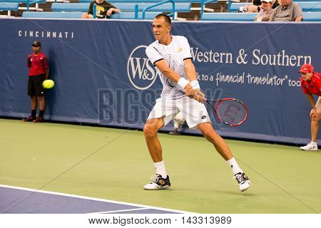 Mason Ohio - August 13 2016: Lukas Rosol in a qualifying match at the Western and Southern Open in Mason Ohio on August 13 2016.