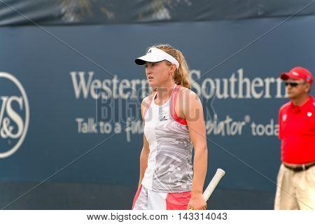 Mason Ohio - August 13 2016: Aliaksandra Sasnovich at the Western and Southern Open in Mason Ohio on August 13 2016.